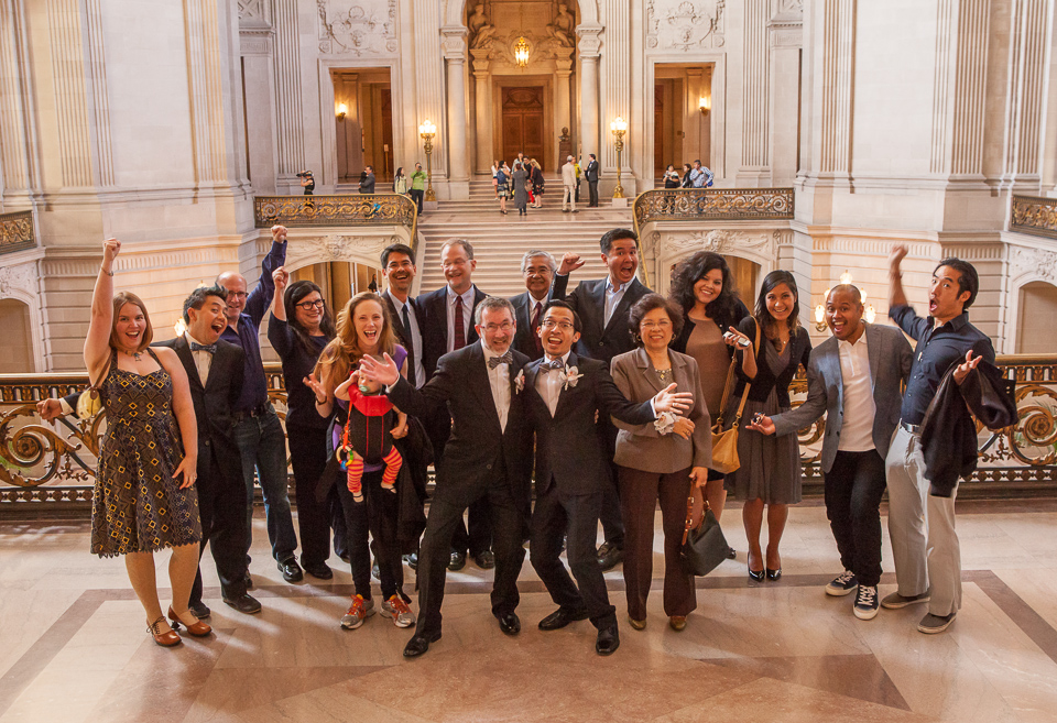 Jeff and Thom with wedding guests at San Francisco City Hall